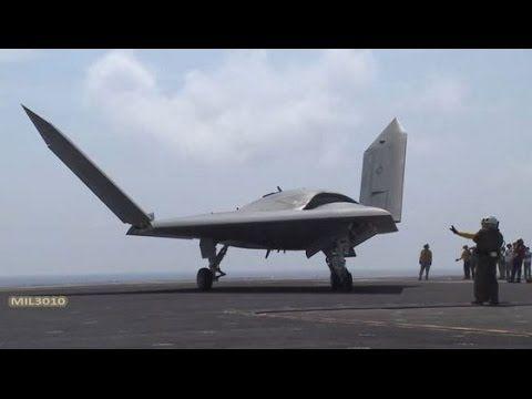 """Боевой стелс беспилотник X-47B / Взлет и посадка на авианосце ВМС США """"Теодор Рузвельт"""" - YouTube"""