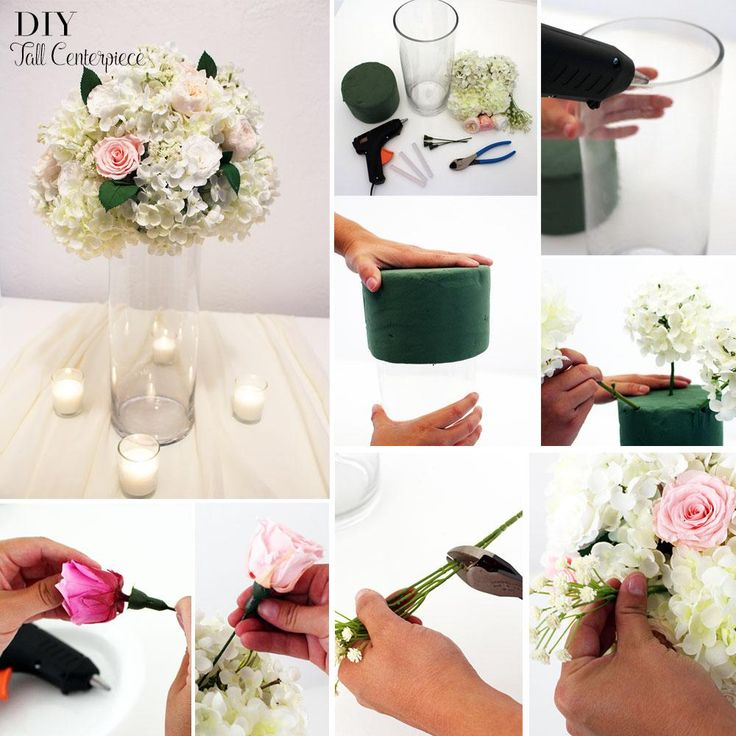Step 1: For this DIY you will need a tallglass cylinder vase, floral foamcylinder orsphere,silk hydrangeas,faux baby's breath,preserved rosesandgreenery