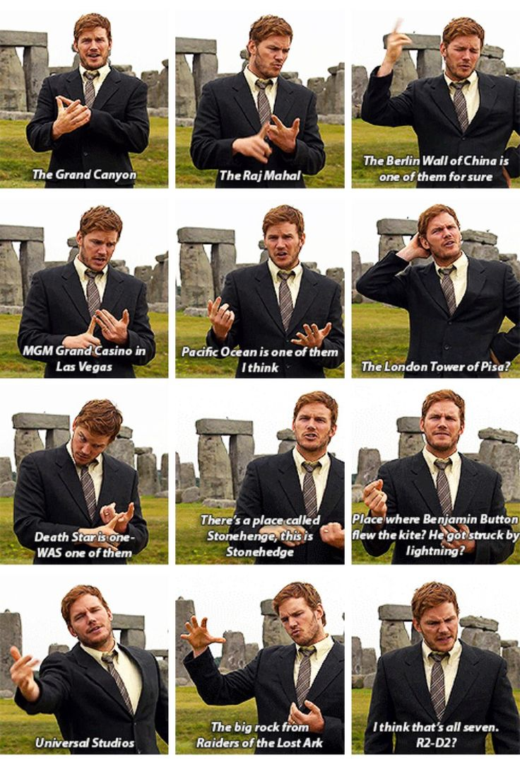 Andy Dwyer names off the 7 Wonders of the World. Parks and Recreation.