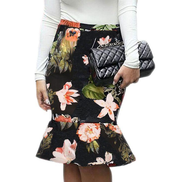 Summer New Fashion Ladies Dress Floral Printed Elegant Office Wear Sexy falbala Mermaid Fish Tail Half Long Skirts