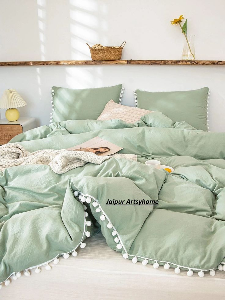 Sage Green Color And White Pom Pom Cotton Fringes Tassels Etsy In 2021 Sage Green Bedroom Room Ideas Bedroom Green And White Bedroom