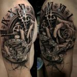 Clock, Sundial Compass & Rose, Mens Shoulder Piece | Best tattoo design ideas