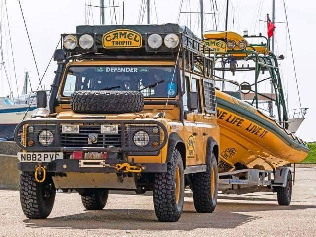 One Life Live It! 1996 Land Rover Defender 300 Tdi Station Wagon Camel Trophy Specification towing RIB