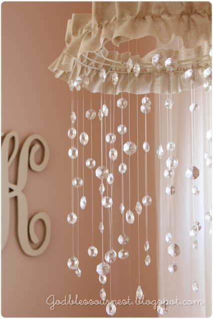 DIY crystal  mobile, or chandellier: Ideas, Baby Mobiles, Nurseries, Crystal Mobile, Diy Mobile, Little Girls Rooms, Baby Rooms, Baby Girls Rooms, Crystals Mobiles
