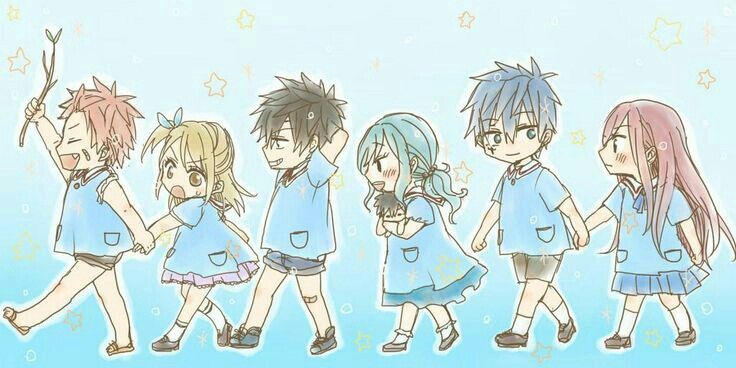 Natsu, Lucy, Gray, Juvia, Jellal, Erza, cute, chibi, school, uniform, couples; Fairy Tail