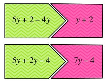 Combining Like Terms Center by To the Square Inch- Kate Bing Coners | Teachers Pay Teachers