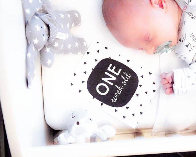Daniël is al 1 week oud! Vandaag was de laatste dag van de kraamzorg. Nu lekker genieten van ons gezinnetje - quality time!  #babyspam #newmom #newborn #babyroom #newmommy #mommyblogger #homesweethome #interiordesign #zwartwitwonen #mijlpaalkaarten #homedeco #babyboy #hemanederland #tiamo