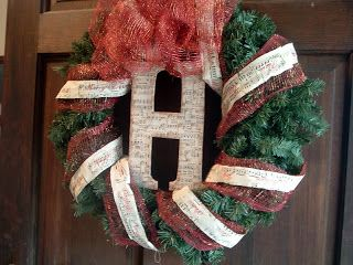 Christmas Wreath with Sheet Music Ribbon ~ * THE COUNTRY CHIC COTTAGE (DIY, Home Decor, Crafts, Farmhouse)