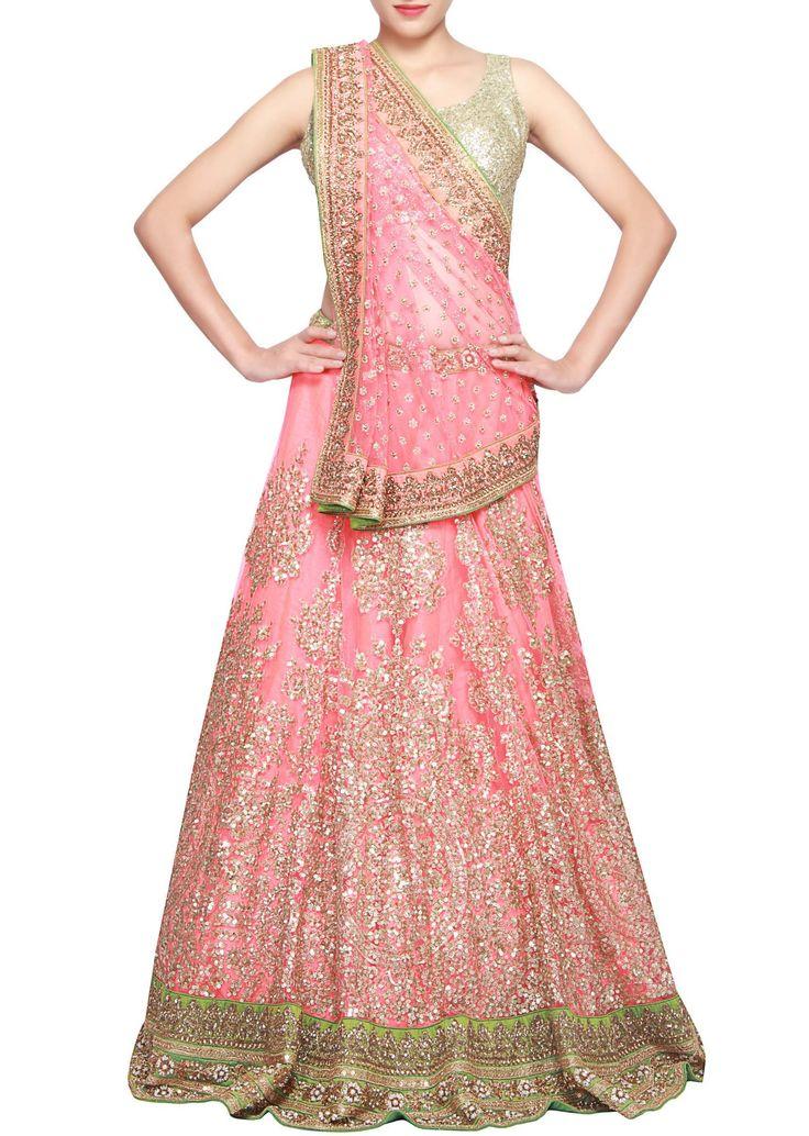 gorgeous #lehenga in pink & gold at http://www.KalkiFashion.com/ ~