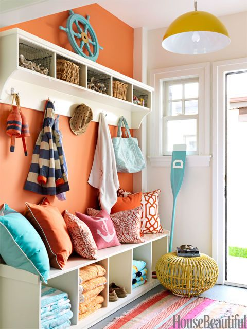 "Strong color — Benjamin Moore's Fresno —""keeps the mudroom from looking like your everyday mudroom,"" designer Mona Ross Berman says of this space in a New Jersey beach house. Pin it »"