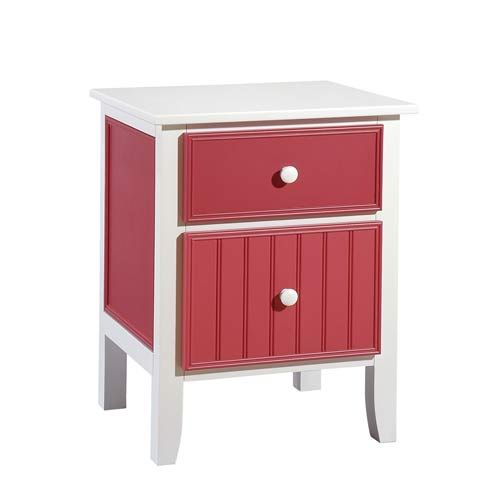 Cottage White And Cottage Red Nightstand Papila Design
