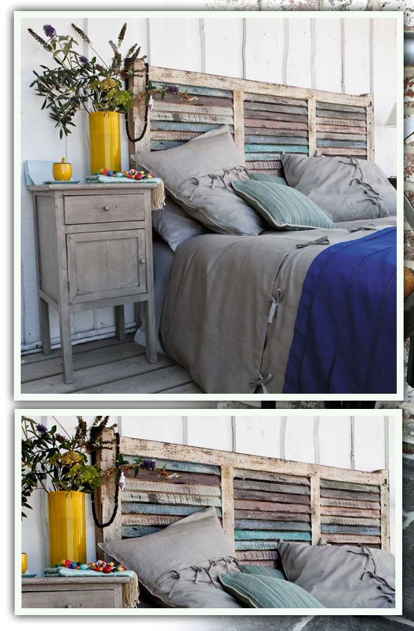 Rustic headboards, also love the bedside table