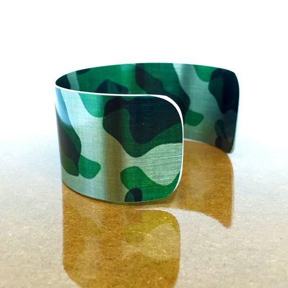 Teen Gifts - Camo Jewelry - Teen Girl Jewelry - Adjustable Bangle Bracelet - Aluminum Bracelet - Bold Jewelry - Sku R28-001
