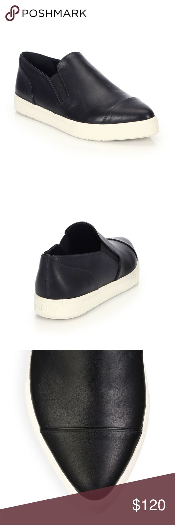 Vince Paeyre Black Leather Sneaker Size 7.5 w/ Box These have been worn for about an hour ! Perfect condition, comes with dust bag, Size 7.5 and true to Size, all leather, black in color, slightly pointed toe front Vince Shoes Sneakers