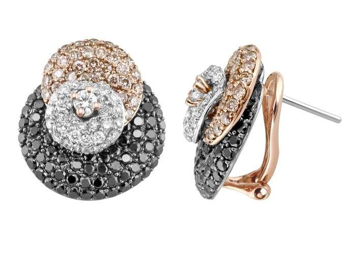 Custom 18kt Rose & White Gold Circular Earrings. $6,650.