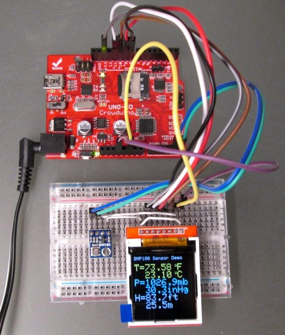 Arduino uses BMP180 to measure the local temperature and pressure, and then retrieve the sensor altitude using the pressure readings.
