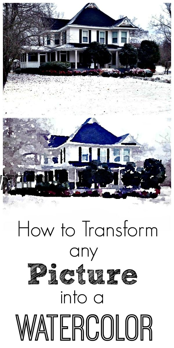 How to create a watercolor of any picture in four easy steps.  Perfect for a housewarming present or shower gift or Mother's Day!  thistlewoodfarms.com