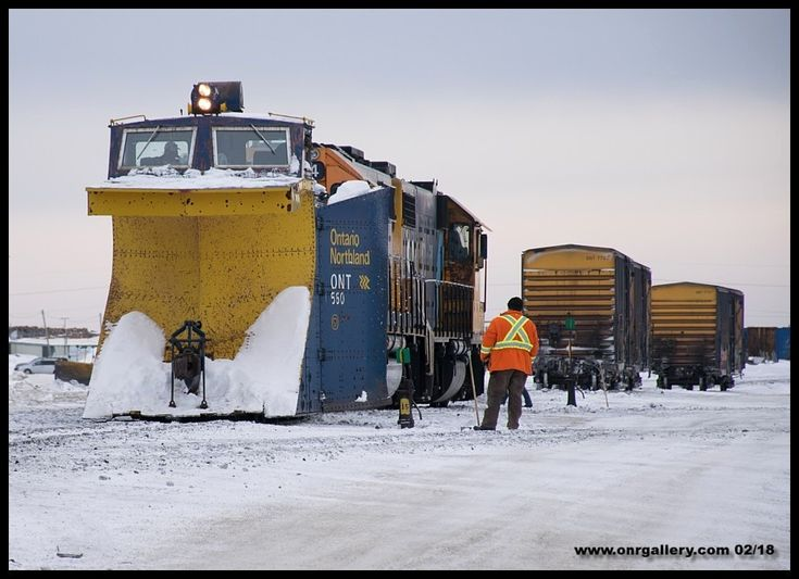 Wade, Richard and JC handle testing of of plow 560 at Cochrane before they embark on a snow clearing trip up the Island Falls Sub to Moosonee Feb. 17th.
