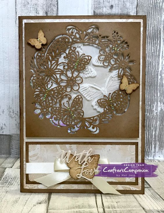 A5 Shaker Card made using Sara Signature Flutterby Collection – Fluttering Frame Die designed by Mel Jess #crafterscompanion