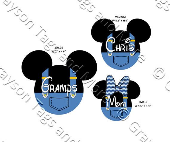 Personalized Mickey Head w/Overalls Disney Cruise Magnet 3