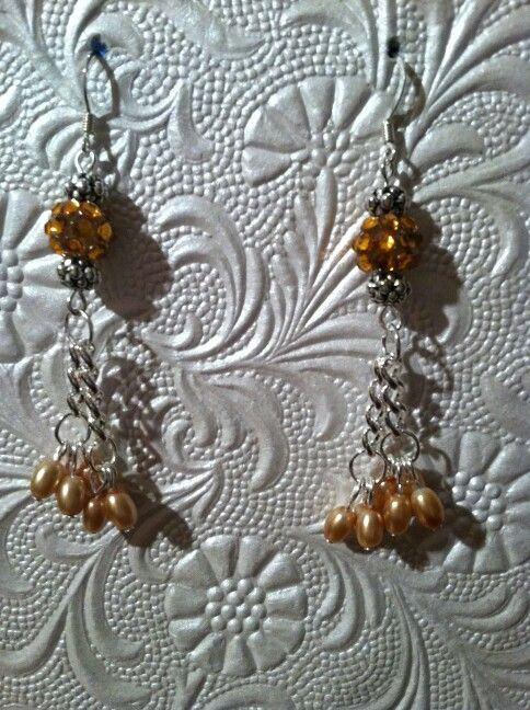 Sparkling Orange Pearl Earrings