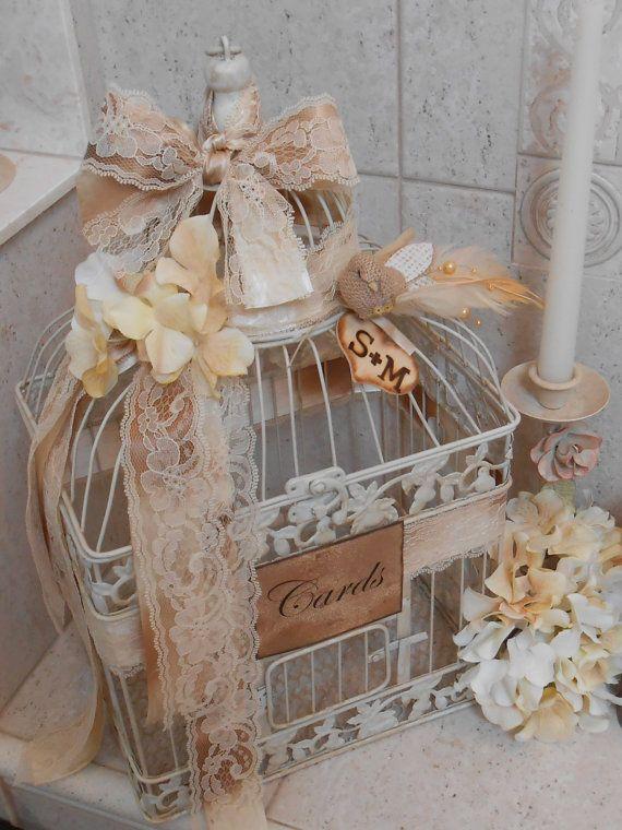 Birdcage Wedding Card Holder / Wedding Birdcage Cardholder / Shabby Wedding  / Distressed Birdcage Decor /
