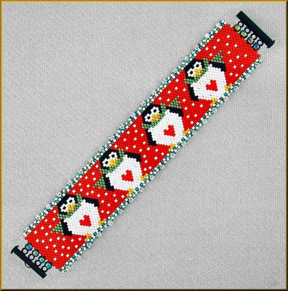 Penguin Row Peyote Bracelet Pattern by Kristyz on Etsy