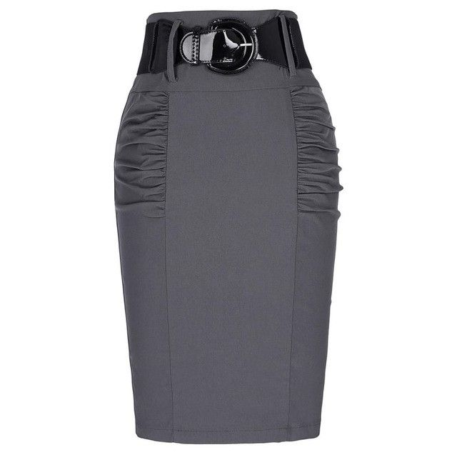 2016 New Sexy Pencil Skirts Womens Business Work Office Skirt With Belt High Waist Elastic Casual