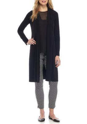 Kaari Blue™ Women's Long Knit Cardigan - True Black - Xs