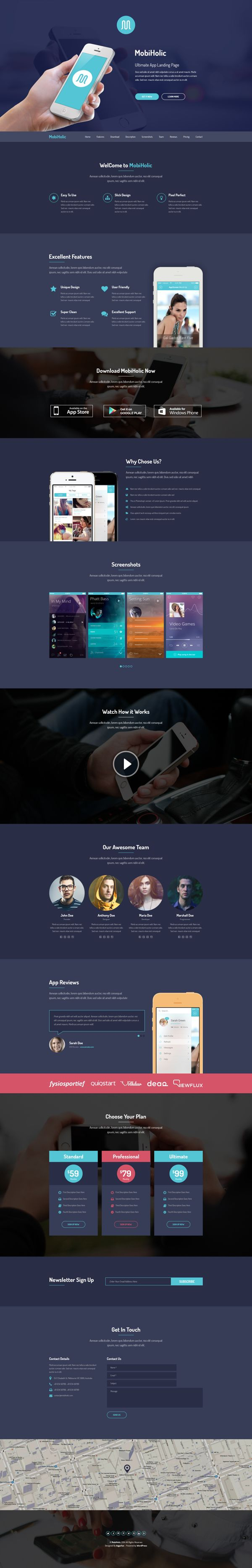 MobiHolic - Ultimate App Landing Page PSD Template by Akbar Hossain, via Behance