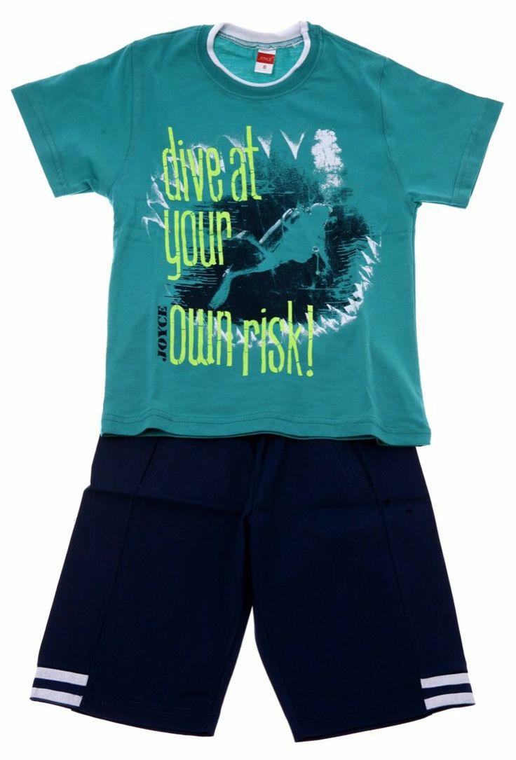 Παιδικά ρούχα AZshop.gr - Joyce παιδικό σετ μπλούζα-παντελόνι βερμούδα «Take The Risk» €13,00