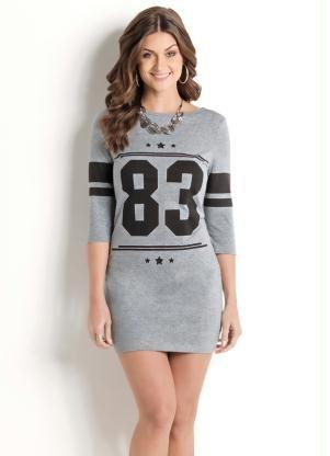 Vestido (Cinza) Esportivo Estampa Number