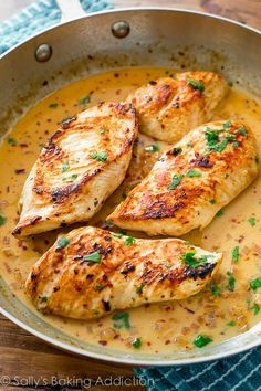 Quick Dinner: Skillet Chicken with Creamy Cilantro Lime Sauce.