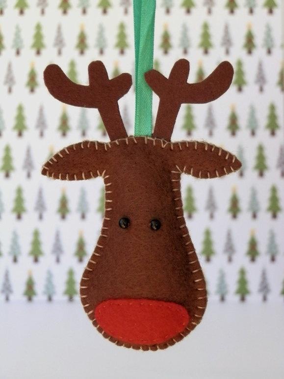 Reindeer Felt Christmas Tree Ornament - Rudolph. $7.00, via Etsy.