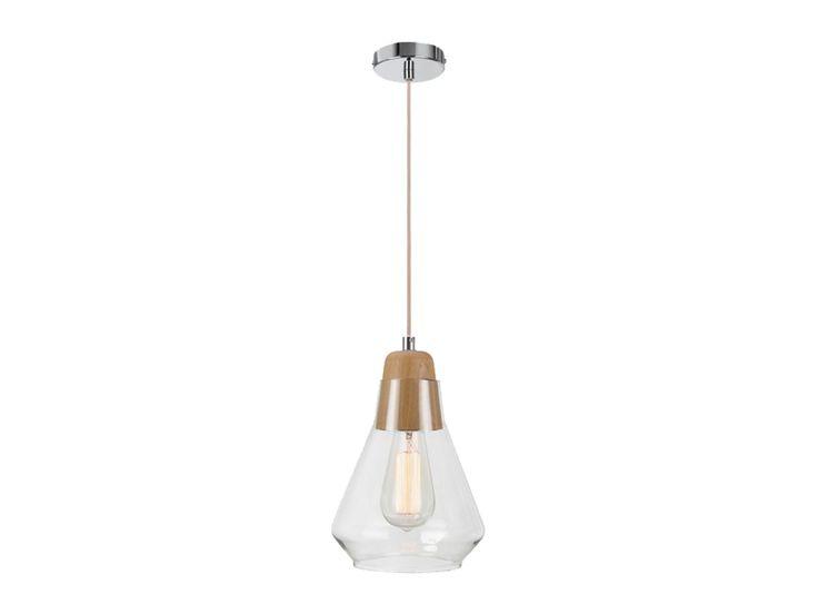 Ando 1 Light Pendant in Teak/Glass $135