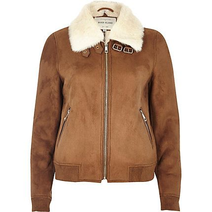 Tan faux fur lined bomber jacket £75.00