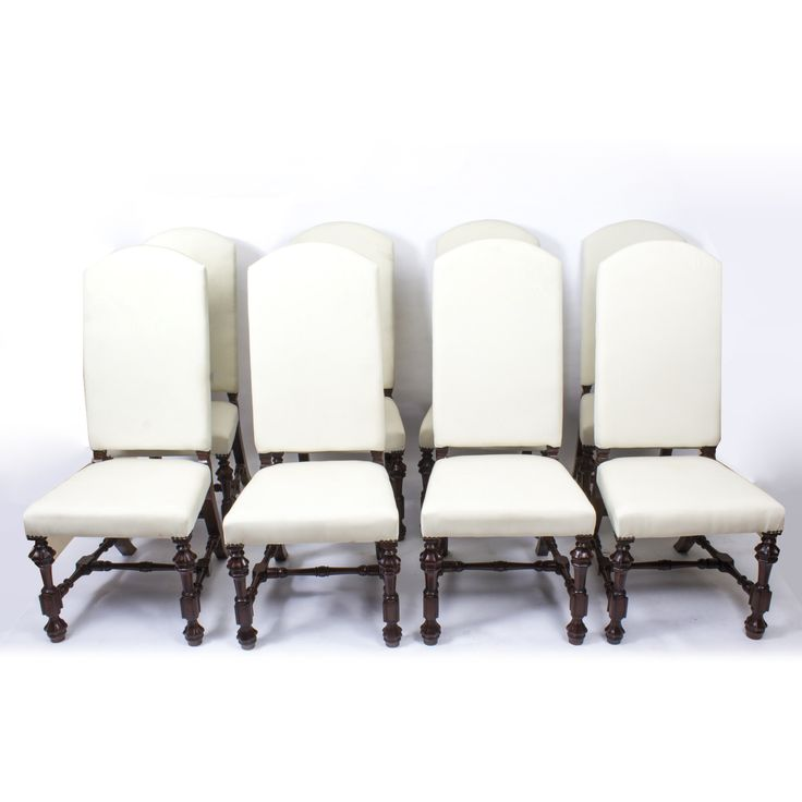 An Absolutely Fantastic English Made Set Of Eight Bespoke Padded High Back  Dining Chairs.