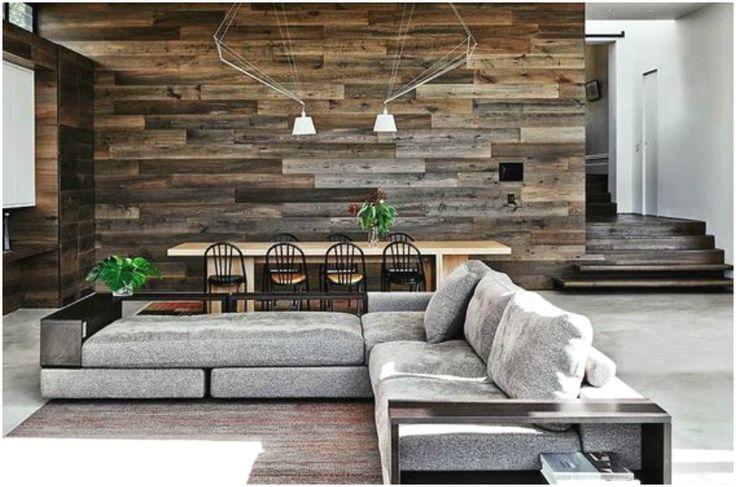 Оформление стены в гостиной ламинатом