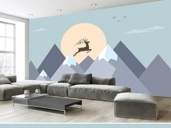 Hand Painted Geometric Mounatins Wallpaper Wall Murals Nordic Ins
