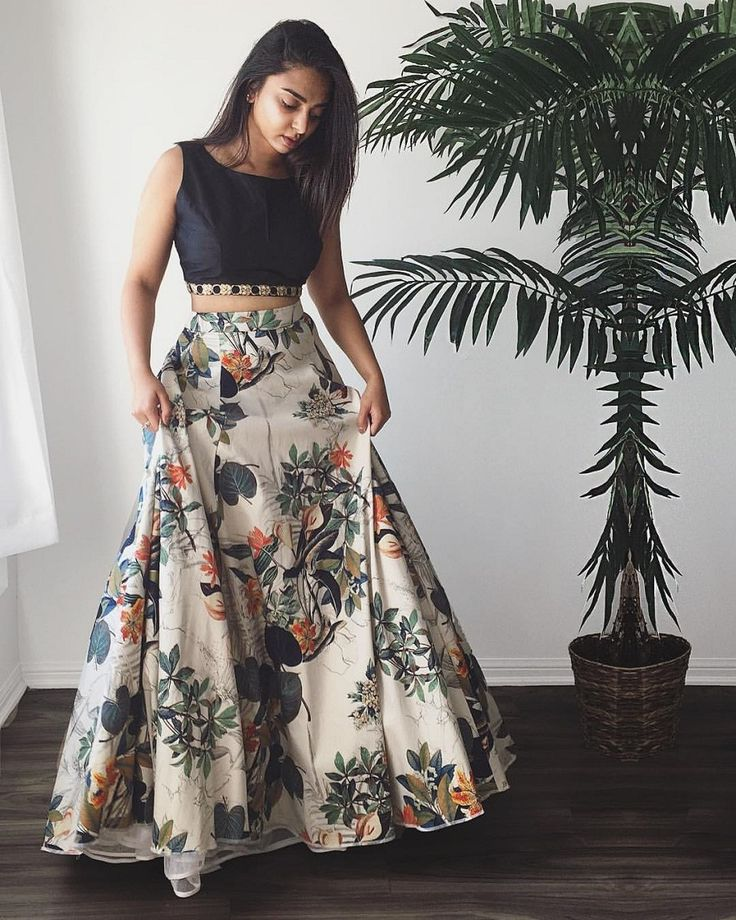 Crepe+Silk+Floral+Print+Multicolour+Semi+Stitched+Lehenga+-+Jk4 at Rs 1599