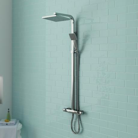 Milan Square Thermostatic Bar Shower Valve & Riser Kit - Chrome at Victorian Plumbing UK