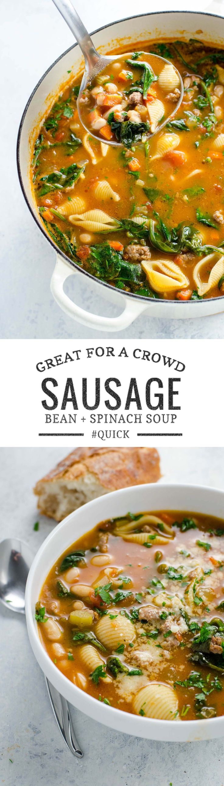 Italian sausage soup with white beans, spinach with pasta shells is quick, easy and great for a crowd. It's hearty and packed with veggies. via @umamigirl