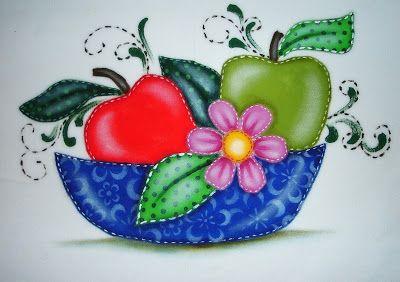Pintura em Tecido Passo a Passo Com Fotos: Pintura em Tecido folk /country frutas