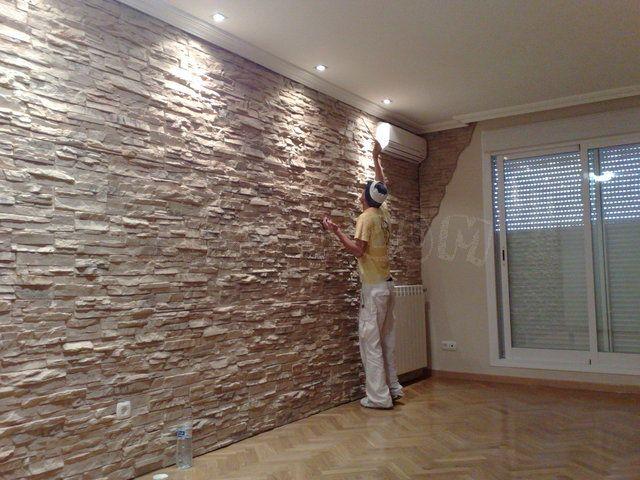 pared de piedra salon