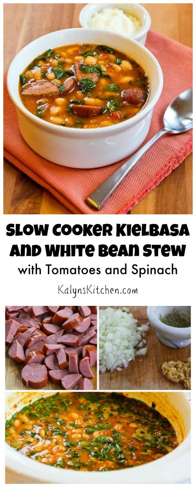 This Slow Cooker Kielbasa and White Bean Stew Recipe with Tomatoes and Spinach starts with dried white beans that cook all day in the slow cooker!  (Gluten-Free, Can Freeze) [from KalynsKitchen.com]