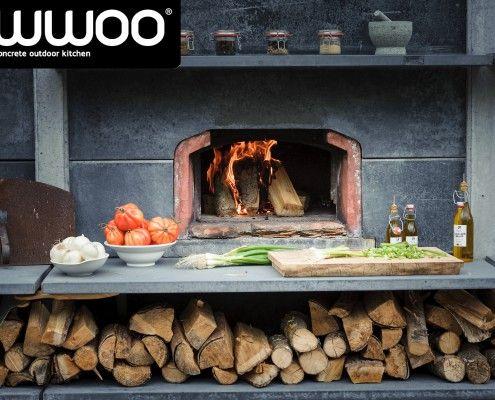 Buitenkeuken hoog antraciet met pizzaoven, BGE en wasbak