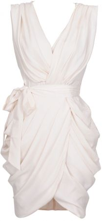 'Monroe' White Chiffon Wrap Dress- Rehearsal or bridal shower dress. Or Reception