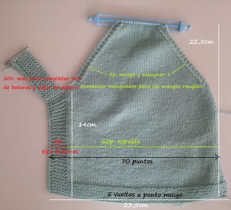 Esta chaquetita es para los los tres o cuatro primeros meses. Materiales: 2 ovillos DMC (100% Baby pure merino wool) agujas del 3,5 ...