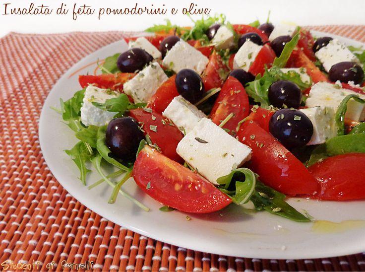Insalata di feta pomodorini e olive con rucola ricetta insalata fredda estiva