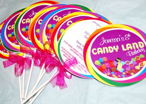 @Marisol Calderon (i think a candy land party would be cool for Maritsa) these are the invitations and its COLORFUL :)